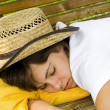 Sleeping cowgirl — Stock Photo