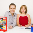Stock Photo: Happy teacher and student