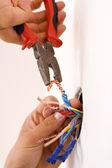 Handyman working closeup — Stock Photo