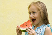 Eating the watermelon — Stock Photo