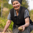 Elderly woman working outdoors — Stock Photo