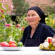 Elderly woman talking at the table — Stock Photo #14042368