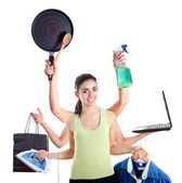 Multi-tasking woman — Stock Photo