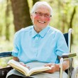 Lady in Wheelchair Reading Bible — Stock Photo #25178623