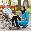 Elderly Lady in Wheelchair — Stock Photo