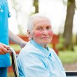 Walking with an Elderly Lady in Wheelchair — Stockfoto