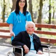 Walking With Senior Patient In Wheelchair — Stock Photo