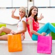 Beauties in City Shopping — Stock Photo