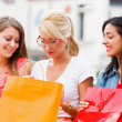 Girls Sitting on Bench With Shopping Bags — Stock Photo #27280565