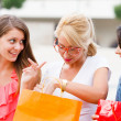 Girlfriends Talking After Shopping — Stock Photo #27280659