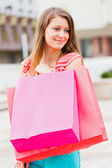 Beautiful Girl With Pink Shopping Bag — Stock Photo