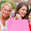 Three Women Out In Town Shopping — Stock Photo
