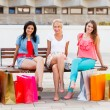 Women Sitting After Shopping — Stock Photo