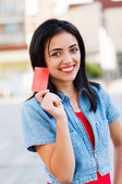 Credit Card Held by Girl — Stock Photo