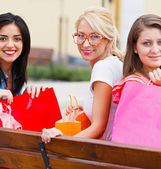 Girlfriends Together Out in City — Stock Photo