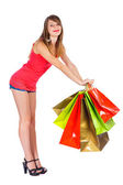 Cute Girl With Shopping Bags — Stockfoto