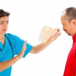 May I Help You With A Tissue, Mr. Sneezing Man ? — Stock Photo