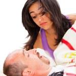 chrápající člověk a narušený žena — Stock fotografie