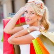 Gorgeous Blond Girl Shopping — Stock Photo