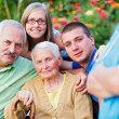 Visiting Granny in a Nursing Home — Stock Photo
