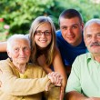 Son and Grandchildren Visiting Granny — Stock Photo