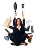 Kind Multi-Tasking Woman — Stock Photo