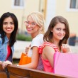Group of Beautiful Women on Bench — Stock Photo #30352191