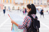 Map and Tourist — Stock Photo