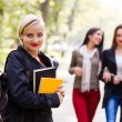 Girlfriends going to school — Stock Photo