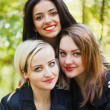Portrait of Three Girlfriends in Park — Stock Photo