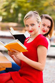Girls Reading Books — Stock Photo