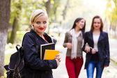Girlfriends going to school — Foto de Stock