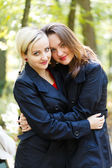 Embracing Loving Sisters — Stock Photo