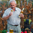 Senior man sampling wine — Stock Photo
