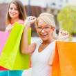Best Friends Enjoying The Deserved Shopping Day — Stock Photo