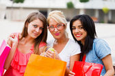 Girls After Successful Shopping — Stock Photo