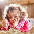 Stock Photo: Fuzzy Haired Child in Hay