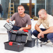 Joyful Handy Men and Their Tool Boxes — Stock Photo