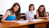 Girlfriends in classroom — Stock Photo