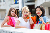 Girls out for a shopping — Stock Photo