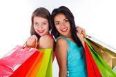 Kobiety razem, trzymając torby na zakupy — Zdjęcie stockowe