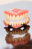 Upper and lower dental prosthesis — Stock Photo