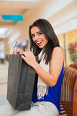 Brunette lady loves getting gifts — Stock Photo
