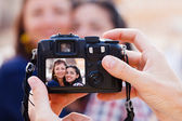 Taking a photo of women — Stock Photo