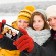 Ladies Taking Winter Selfie — Stock Photo