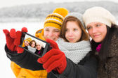 Ladies Taking Winter Selfie — Stockfoto