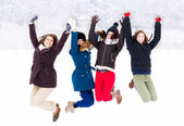 Enjoying Winter with Friends — Stock Photo