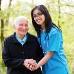Kind Senior Lady with Nurse — Stock Photo