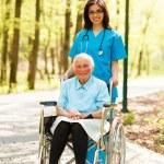 Nurse with elderly Lady in Wheelchair — Stock Photo #40987951
