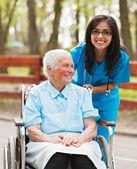 Happy Nurse with Happy Patient — Stock Photo